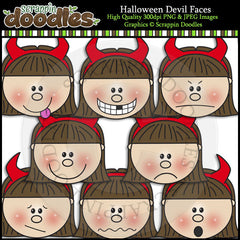 Halloween Devil Faces Clip Art & Line Art