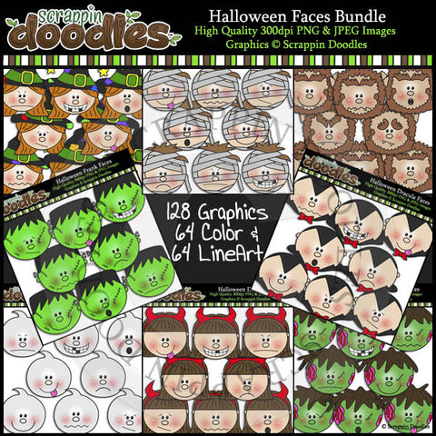 Halloween Faces BUNDLE Clip Art & Line Art