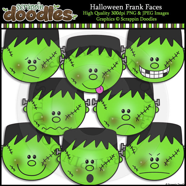 Halloween Frank Faces Clip Art & Line Art