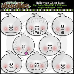 Halloween Ghost Faces Clip Art & Line Art
