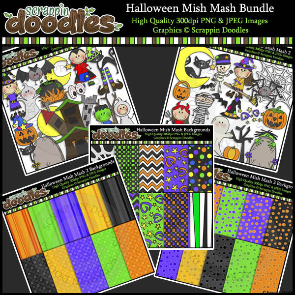 Halloween Mish Mash BUNDLE Clip Art, Line Art & Backgrounds