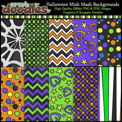 Halloween Mish Mash 12x12 Backgrounds