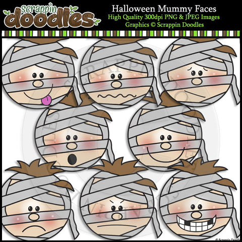 Halloween Mummy Faces Clip Art & Line Art