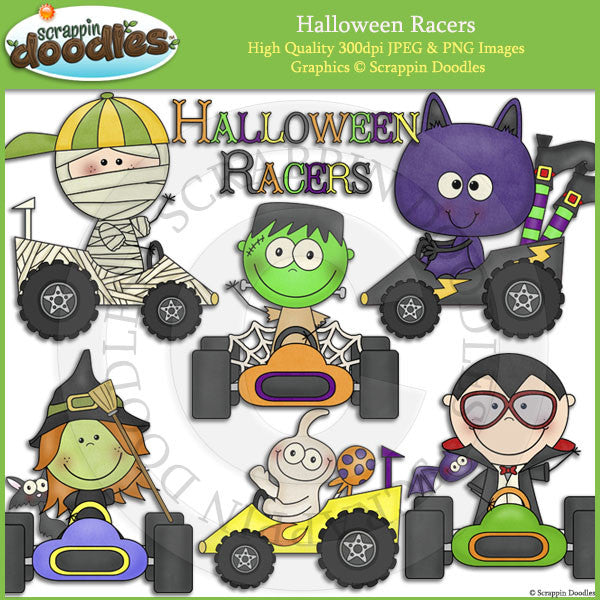 Halloween Racers Clip Art