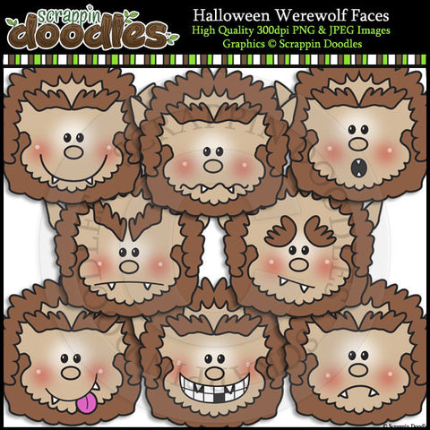 Halloween Werewolf Faces Clip Art & Line Art
