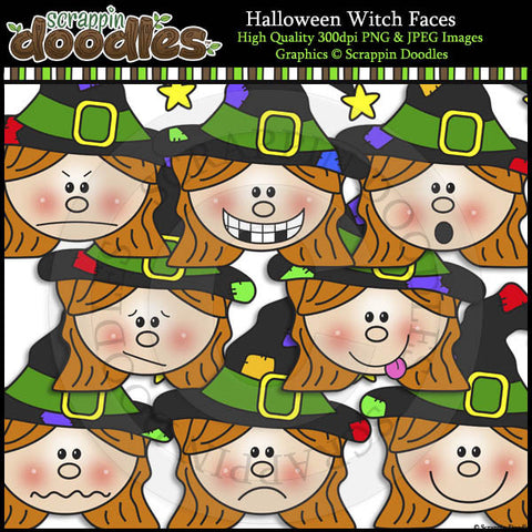 Halloween Witch Faces Clip Art & Line Art