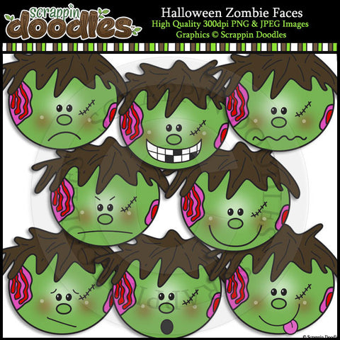 Halloween Zombie Faces Clip Art & Line Art