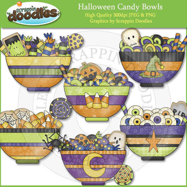 Halloween Candy Bowls Clip Art Download