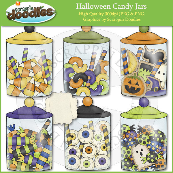 Halloween Candy Jars Clip Art Download