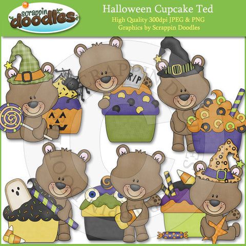 Halloween Cupcake Ted Clip Art Download