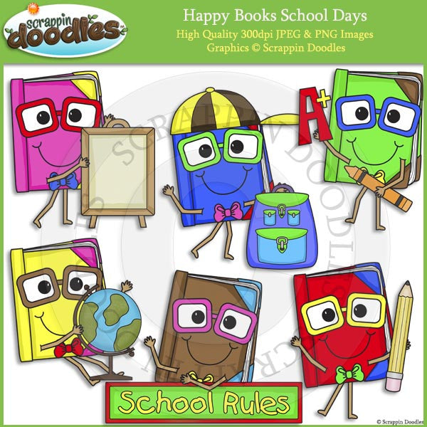 Happy Books School Days Clip Art