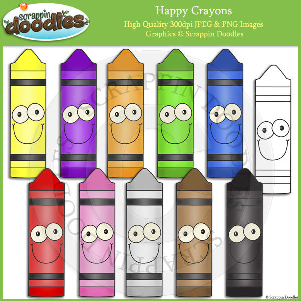 Happy Crayons Clip Art