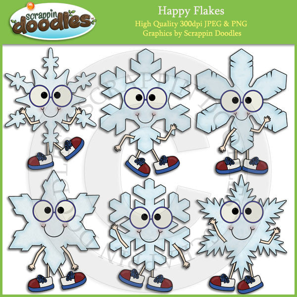Happy Flakes Clip Art Download