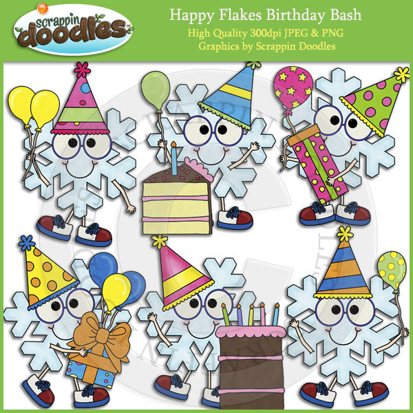 Happy Flakes Birthday Clip Art Download