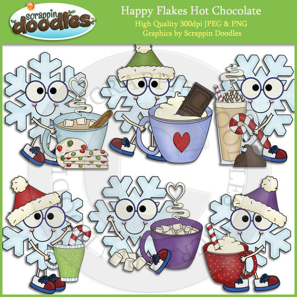 Happy Flakes Hot Chocolate Clip Art Download