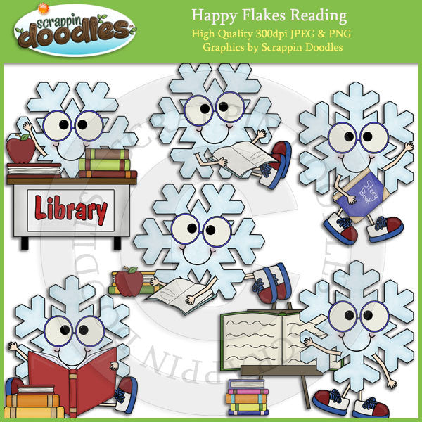 Happy Flakes Reading Clip Art Download