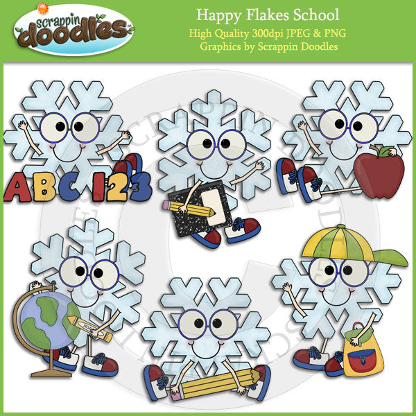 Happy Flakes School Clip Art Download