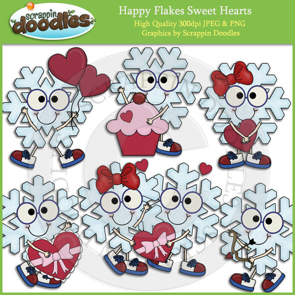Happy Flakes Sweet Hearts Clip Art Download