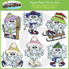 Happy Flakes Winter Fun Clip Art Download