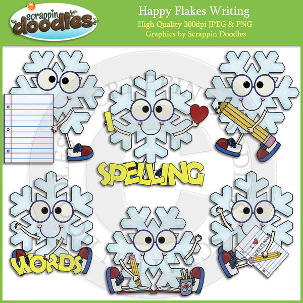 Happy Flakes Writing Clip Art Download