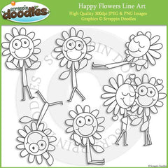 Happy Flowers Clip Art