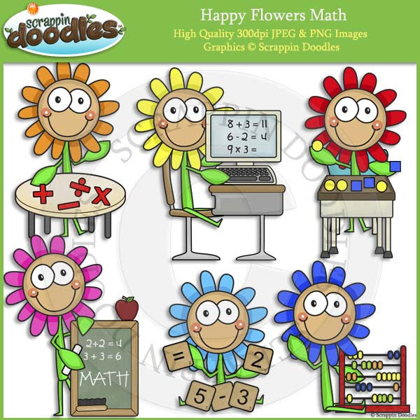 Happy Flowers Math Clip Art