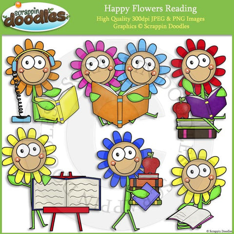 Happy Flowers Reading Clip Art