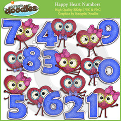 Happy Heart Numbers Clip Art Download