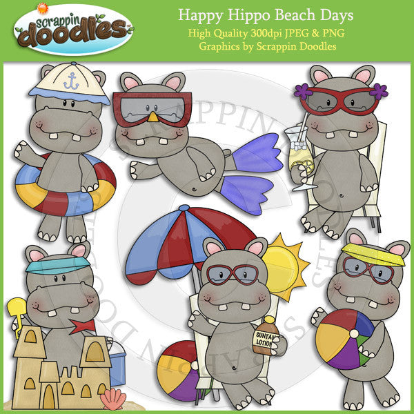 Happy Hippo Beach Days Clip Art Download