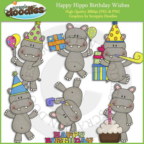 Happy Hippo Birthday Wishes Clip Art Download