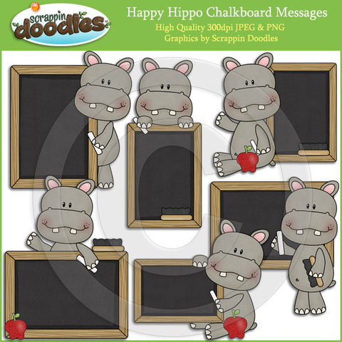 Happy Hippo Chalkboard Messages Clip Art Download