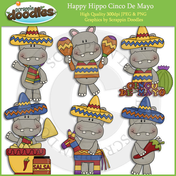 Happy Hippo Cinco De Mayo Clip Art Download