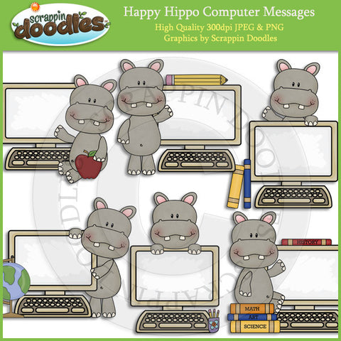 Happy Hippo Computer Messages Clip Art Download
