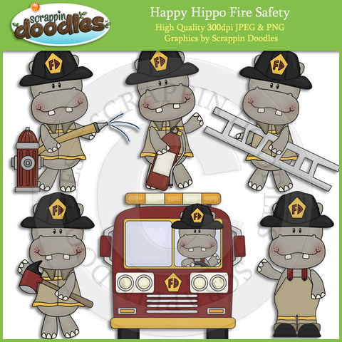 Happy Hippo Fire Safety Clip Art Download