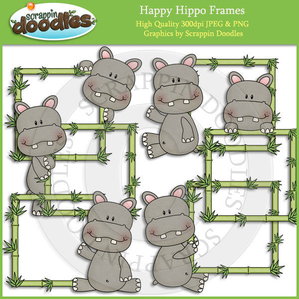 Happy Hippo Frames Clip Art Download
