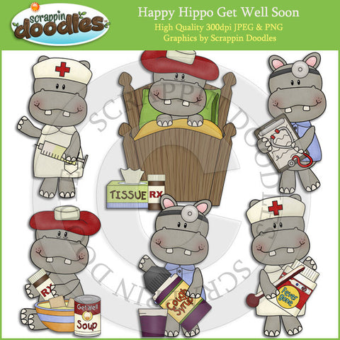 Happy Hippo Get Well Soon Clip Art Download
