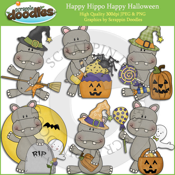 Happy Hippo Happy Halloween Clip Art Download