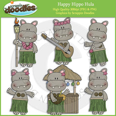 Happy Hippo Hula Clip Art Download