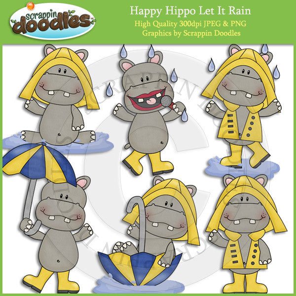 Happy Hippo Let It Rain Clip Art Download