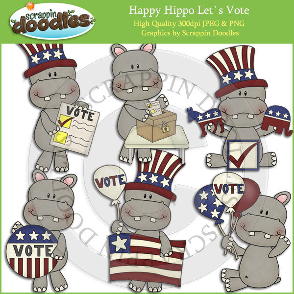 Happy Hippo Let's Vote Clip Art Download