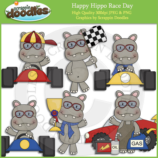 Happy Hippo Race Day Clip Art Download