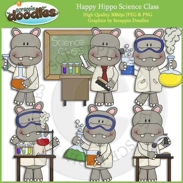 Happy Hippo Science Class Clip Art Download