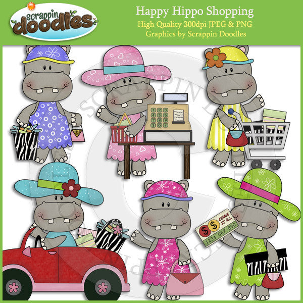Happy Hippo Shopping Clip Art Download