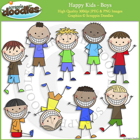 Happy Kids - Boys Clip Art & Line Art