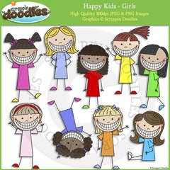 Happy Kids - Girl Clip Art & Line Art