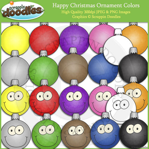 Happy Christmas Ornament Colors Clip Art