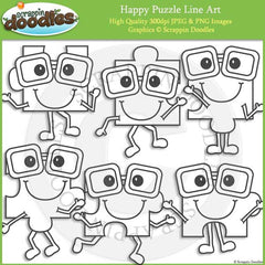 Happy Puzzle Pieces Clip Art