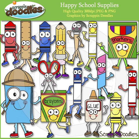 Happy School Supplies Clip Art