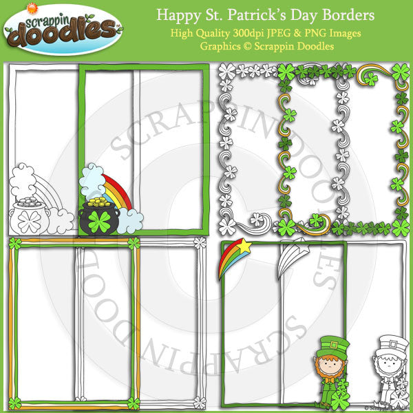 Happy St. Patrick's Day Borders with Line Art