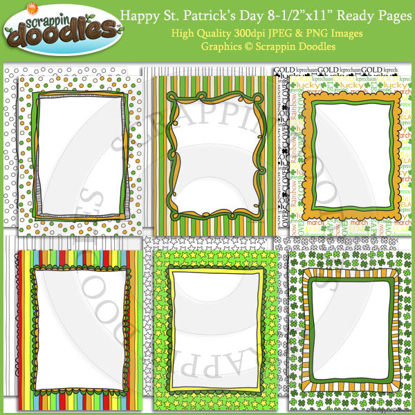 Happy St Patricks Day 8 1/2 x 11 Ready/Cover Pages with LineArt